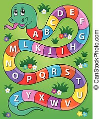 Snake with alphabet theme image 2 - eps10 vector...