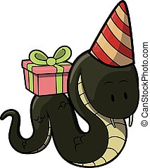 snake with gift using Birhtday