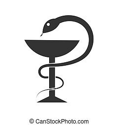 snake wraps around the bowl. Simple vector illustration for ...