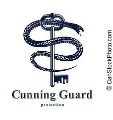 Snake wraps around vintage key, protected secret concept, ...