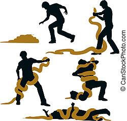 Snake wrestler - Editable vector illustration sequence of a...