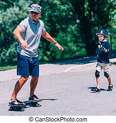 snakeboarding, nipote, nonno