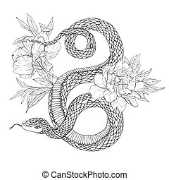 Snakes and flowers. Tattoo art, coloring books. Hand drawn vintage vector illustration Isolated on white background.