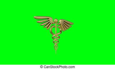 snakes., caducée, vert, render, symbole, monde médical, ...