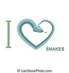 snakes., hart, liefde, boven., python, illustratie, vector,...