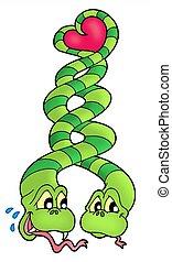 Snakes in love - color illustration.