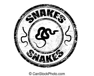 Abstract grunge rubber office stamp with snake shape and the word snakes written inside the stamps