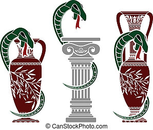 snakes with jugs. stencil