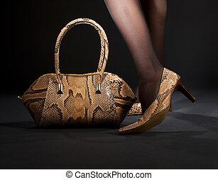 snakeskin, 구두, 와..., 핸드백