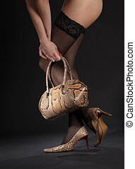 snakeskin shoes, handbag and stockings - long legs in...