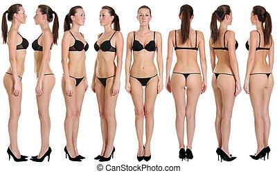 snap models - Beautiful underwear model posing on a white...
