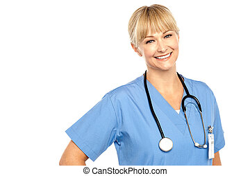 Snap shot of a charming young caucasian doctor