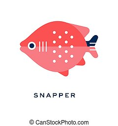 Snapper, freshwater fish geometric flat style design vector Illustration