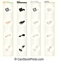 Snapshot of the tooth, medical plaster on the hand, teeth cleaning, wound treatment. Medicine and dentistry set collection icons in cartoon black monochrome outline style vector symbol stock isometric illustration web.