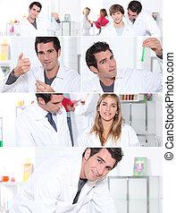 snapshots of male and female laboratory technicians