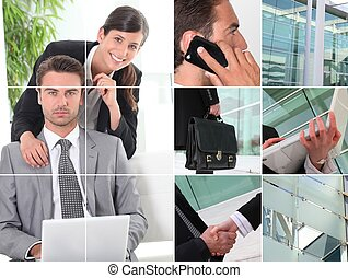 snapshots of people working in office