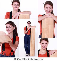 snapshots of young female carpenter