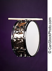 Snare Drum Copper Isolated on Purple