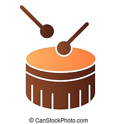 Snare drum flat icon. Drum with drumstick color icons in trendy flat style. Percussion instrument gradient style design, designed for web and app. Eps 10