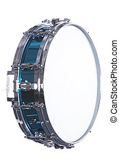 Snare Drum Isolated on White - A metallic blue snare drum...