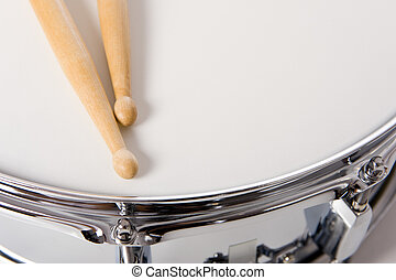 Snare Drum Set with Sticks - A new silver snare drum with...