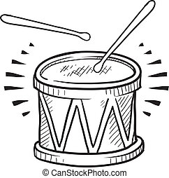 Snare drum sketch - Doodle style drum sketch in vector...