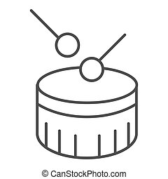 Snare drum thin line icon. Drum with drumstick vector illustration isolated on white. Percussion instrument outline style design, designed for web and app. Eps 10