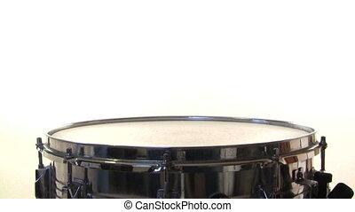 snare- trommel, rolle, weiß, hintergrund