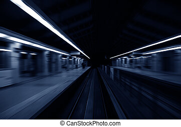 snarlig, tog, forbigående, tog station