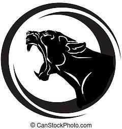 Snarling black panther with huge tusks