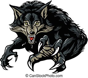 Snarling Scary Werewolf Vector