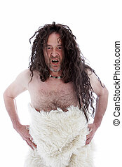 Snarling uncouth long haired caveman wearing a furry animal ...