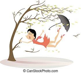 snatches, donna, ombrello, vento, albero, su, illustrazione...
