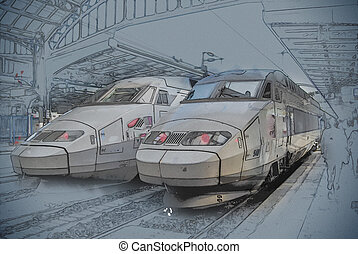 SNCF TGV trains on Northern train station, Gare du Nord