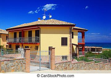 snd, jardim, cercado, amarela, costa, cabana, dois andares, sacada