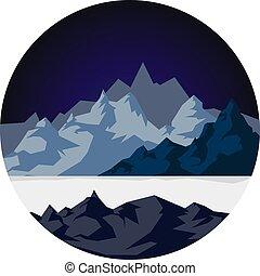 sne, bjerge, hos, en, sø