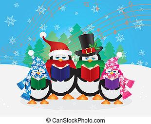 sne, illustration, scene, pingviner, carolers, jul