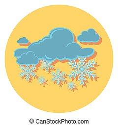 sne, lejlighed, ikon, cirkel