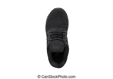 Sneaker black white background. Sport shoes