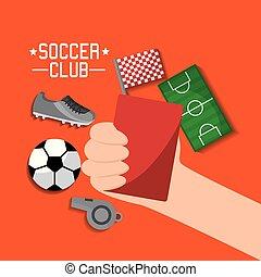 sneaker, bola, camisa, apito, campo, clube, mão, equipamento, cartão, segurando, futebol, vermelho, t