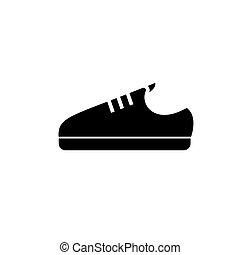 sneaker, illustratie, vrijstaand, meldingsbord, vector, zwarte schoen, achtergrond, pictogram