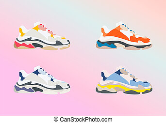 Sneaker shoe . Consept fashion . Flat design. illustration.