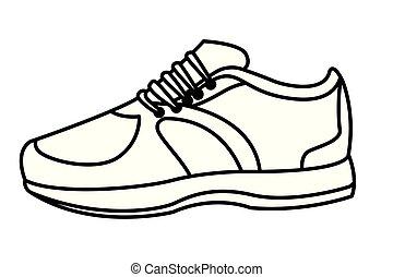 sneaker, shoelance, pretas, branca, caricatura, ícone