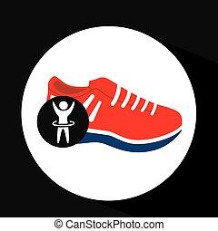 sneaker, silueta, cima, mão, desenho, homem, vermelho, ícone