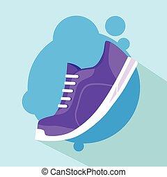 Sneaker Sport Running Shoe Flat Icon Vector