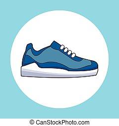 sneaker, sportende, schoen, pictogram