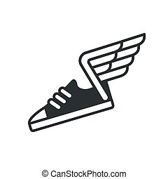 Sneaker with wings icon. Vector sports shoe line logo.