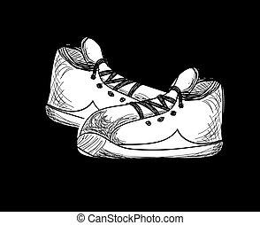 sneakers., スケッチ, ベクトル, style., イラスト