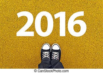sneakers, acima, ano, novo, 2016, feliz