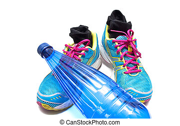 Sneakers and water bottle - Sneakers with socks and a bottle...
